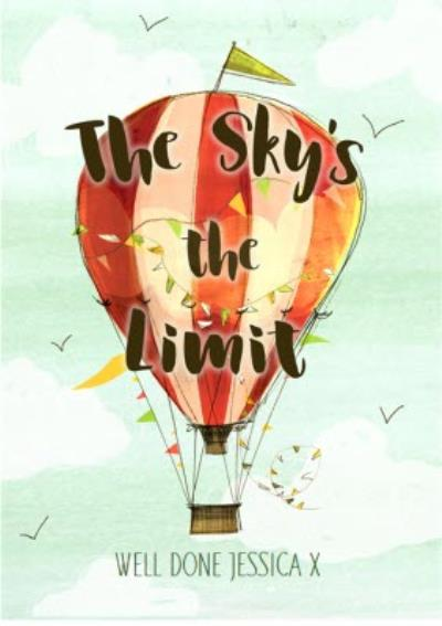 Exam congratulations card - the sky's the limit