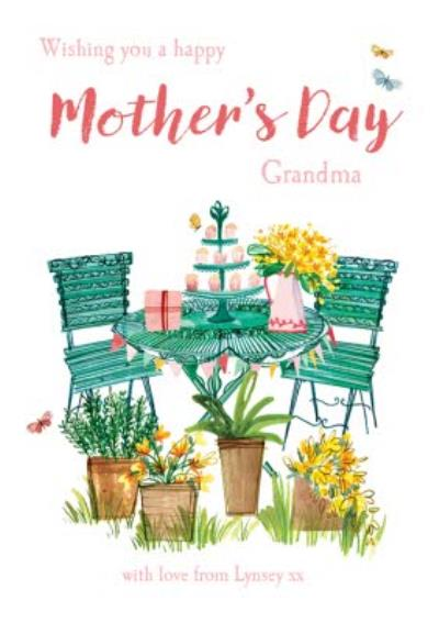 MotherTea In The Garden To My Grandma Personalised Mother's Day Card