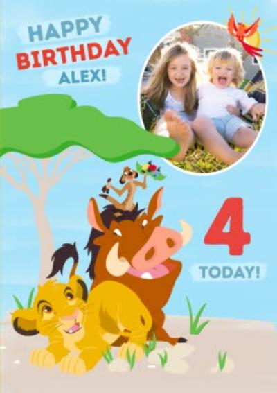 Disney Lion King Birthday Photo upload Card  4  Today!
