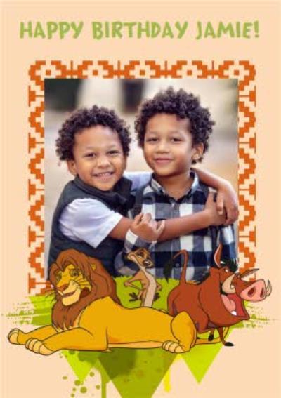Disney Lion King Happy Birthday Photo Card - Simba, Timon and Pumba