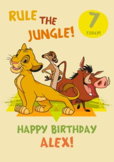 Disney Lion King Happy Birthday Card - Rule The Jungle  7  today