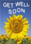Sunflower With Name Personalised Get Well Soon Card