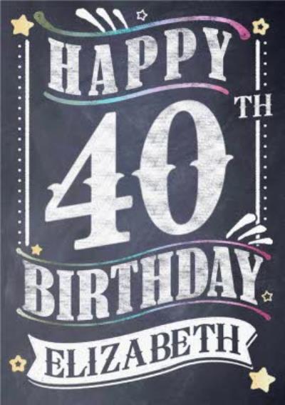 40th Birthday Card - Chalkboard Design