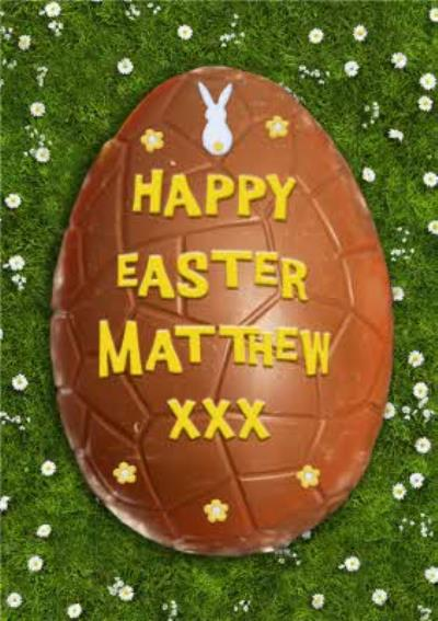 Chocolate Egg With Yellow Icing Personalised Happy Easter Card