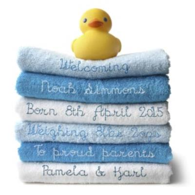 Stack Of Blue Towels With Duck Personalised New Baby Card