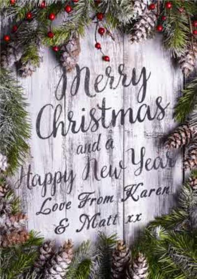 Rustic Door With Pine Border Personalised Merry Christmas Card