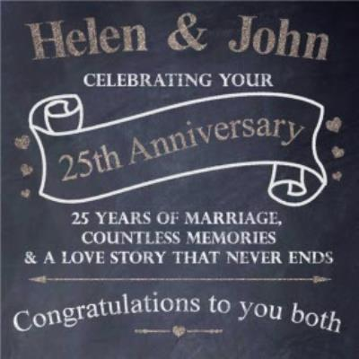 Chalkboard Lettering Personalised Congrats On Your 25th Anniversary Card