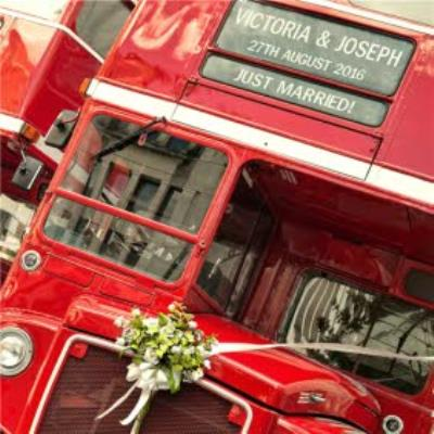 Red Double Decker Bus Personalised Just Married Card