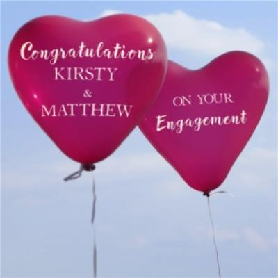 Heart Balloons Personalised Congratulations On Your Engagement
