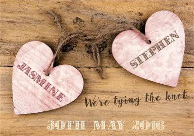 Antique Wooden Hearts Personalised Save The Date Card