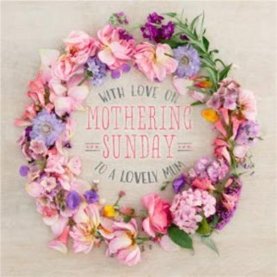 Bright Floral Wreath Mum Personalised Mothering Sunday Card