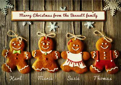 Personalised Family GingerBread Christmas Cards Pack x 10 with names