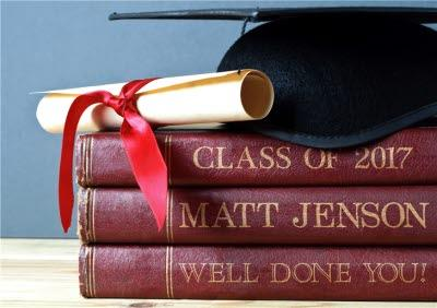 Books and Mortar Board - Custom Graduation Congratulations Card