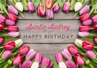 Limelight Personalised Tulip Auntie Birthday Card