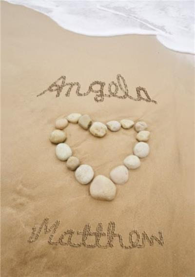 Beach Stone Heart Personalised Anniversary Card