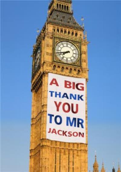 Big Ben With Personalised Banner Thank You Card