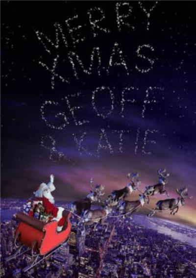 Santa And His Sleigh Message In The Stars Personalised Merry Christmas Card