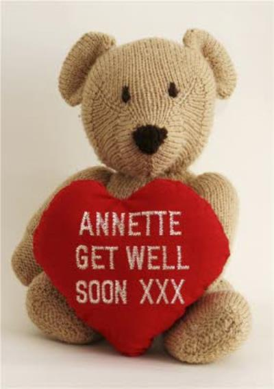 Teddy Bear With Heart And Name Stitched On Personalised Get Well Soon Card