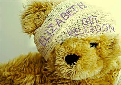 Teddy Bear With Head Bandages Personalised Get Well Soon Card