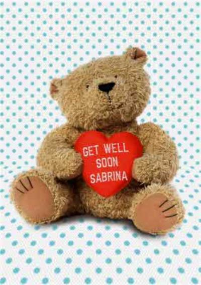Spots And Cuddly Bear With Personalised Heart Get Well Soon Card
