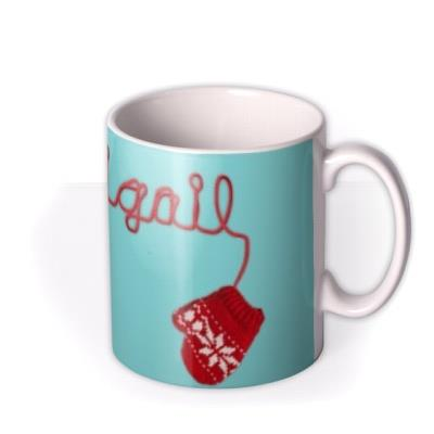 Christmas Red Mittens Personalised Mug