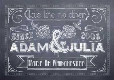 Chalkboard Personalised Names Wedding Card