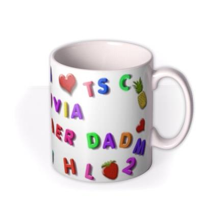Magnetic Letters, Fruit, and Heart Custom Text Mug