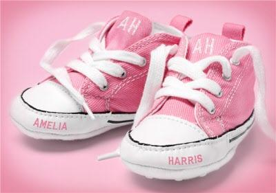New Baby Congratulations Card - Pink Baby Shoes With Name