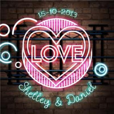 Neon Love Sign With Names Personalised Anniversary Card