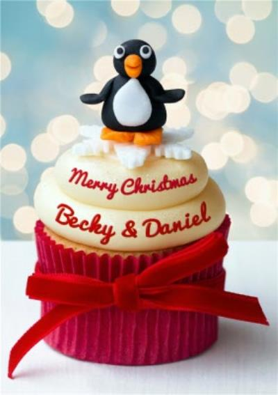Personalised Christmas Card - Penguin On A Cupcake Card