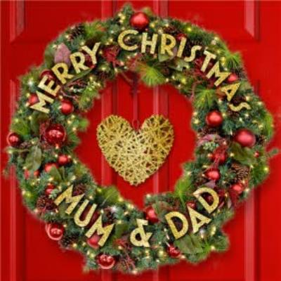 Red Door With Wreath With Personalised Message Merry Christmas Card