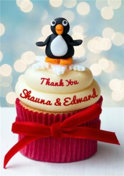 Penguin Cupcake Personalised Thank You Card