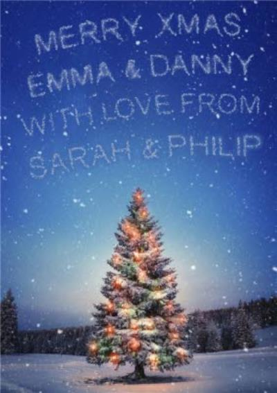 Coloured Lights On Christmas Tree With Message In The Sky Personalised Christmas Card