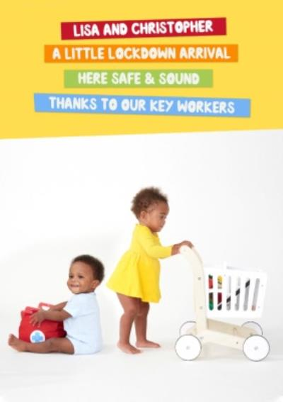 Mind Charity New Baby Card Featuring Little Lockdown key Worker Heroes