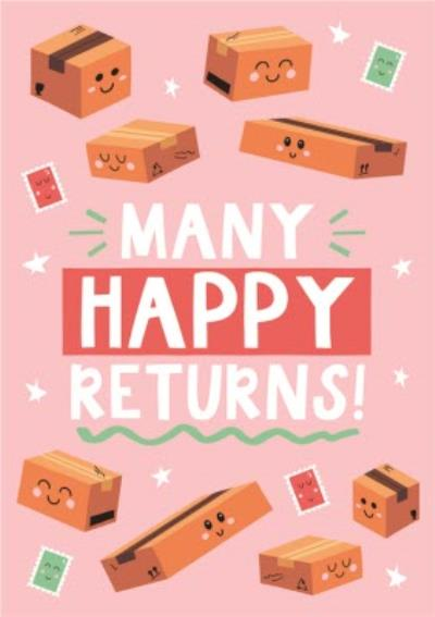Bright Graphic Birthday Parcels Many Happy Returns Birthday Card