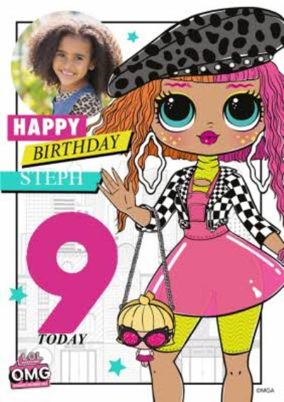 LOL Surprise Happy Birthday Personalised Photo And Age  Card