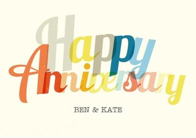 Colourful Letters Personalised Happy Anniversary Card