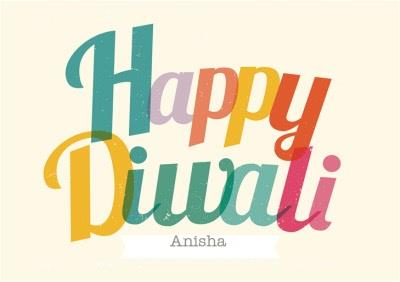 Colourful Letters Personalised Happy Diwali Card