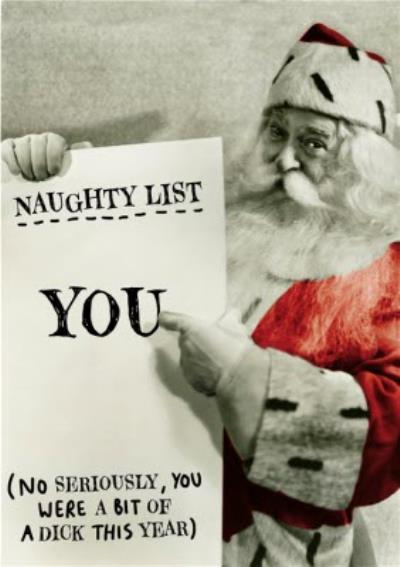 Christmas Card - Naughty List - Santa Claus - Father Christmas
