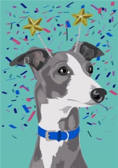 Illustrated Confetti Greyhound Card