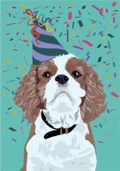 Illustrated Party Hat Confetti King Charles Spaniel Card