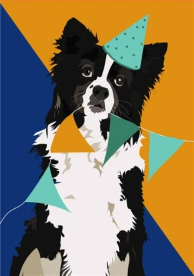 Illustrated Bunting Boarder Collie Card