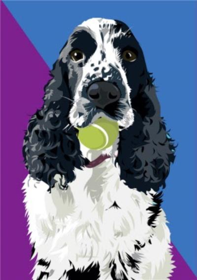 Illustrated Tennis Ball Cocker Spaniel Card