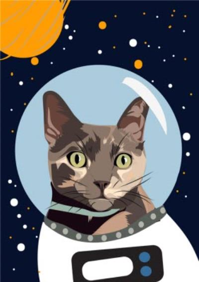 Illustrated Astronaut Space Cat Card