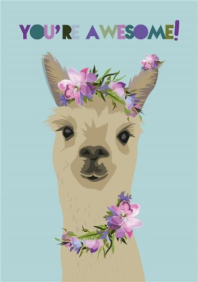 Illustrated Llama You're Awesome Card