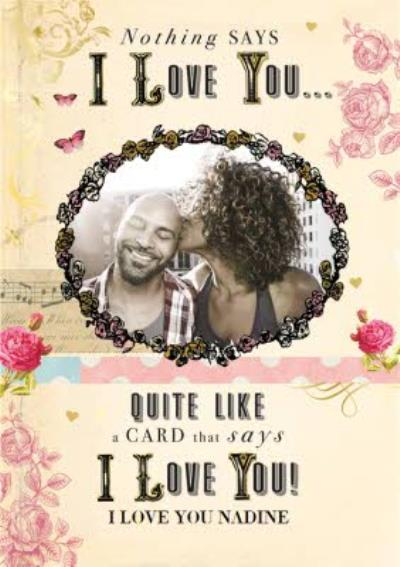 Antique Roses I Love You Photo Card