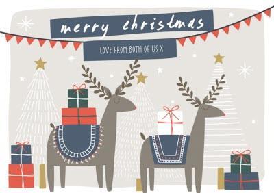 From Both Of Us Scandi Reindeer Personalised Christmas Card