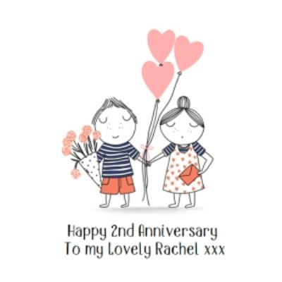 Cute Illustrated Couple Anniversary Card