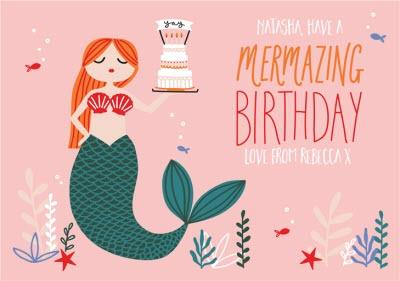 Mermaid Mermazing Kids Birthday Card