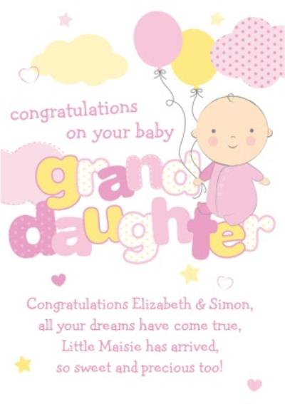 Pink And Yellow Congratulations On Your Baby Granddaughter Personalised Card
